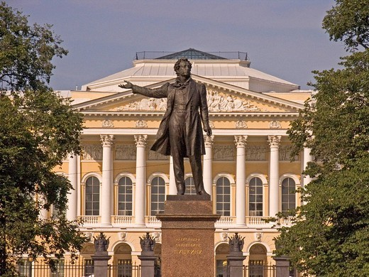 Stock Photo: 1848R-387636 White Nights, GUS Russia St Petersburg 300 years old Venice of the North Memorial of Puschkin Art Designer A Anikuschin from 1957 backside Palace of Michailowski built by Carlo Rossi 1819 to 1825 now the biggest Art Colection of World of Native Art
