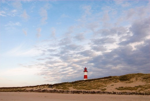Stock Photo: 1848R-388087 Lighthouse List-East at the northern coast of Sylt, Schleswig Holstein, Germany