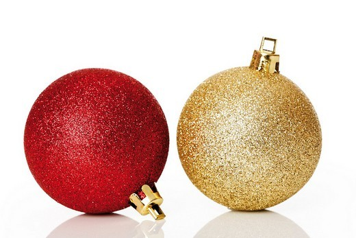 Red and golden glitter christmas tree balls : Stock Photo