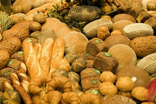 Display of different bread products : Stock Photo