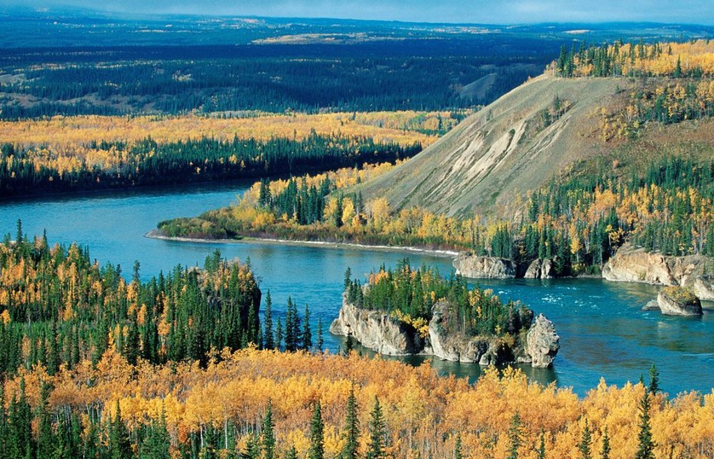 Stock Photo: 1848R-389267 Five Finger Rapids, Yukon River, Yukon Territory, Canada