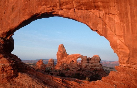 Stock Photo: 1848R-389277 North Window with Turret Arch, Arches national park, Utah, USA