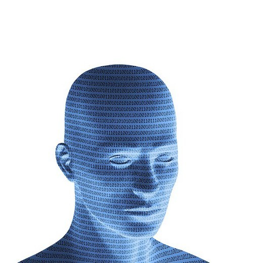 Stock Photo: 1848R-389429 Blue male head with binary code, 3D Illustration