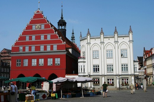 BRD Germany Mecklenburg Vorpommern Greifswald Market Square with City Hall : Stock Photo