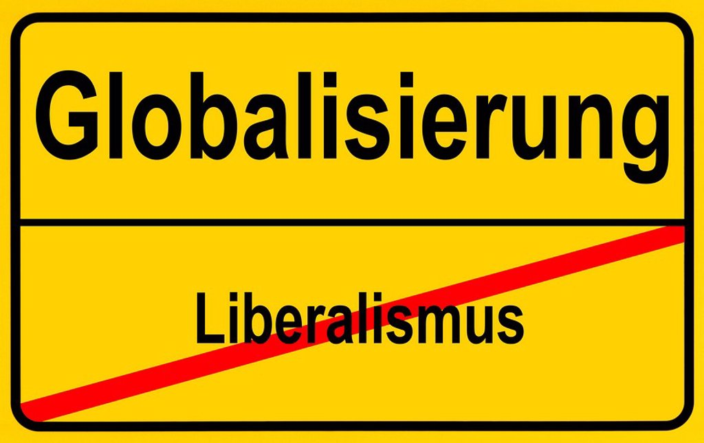 Stock Photo: 1848R-391436 German sign city limits, symbolic image for the development from liberalism to globalism