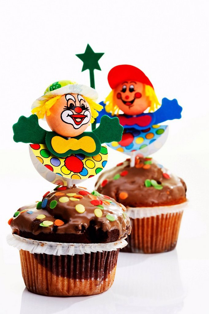 Carnival figures on muffins : Stock Photo