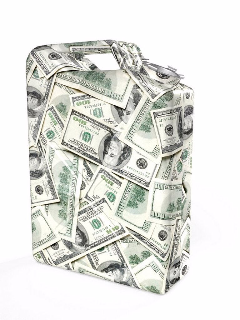 Gas canister made from dollar bills : Stock Photo