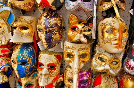 Venetian masks for karneval, Venice, Italy : Stock Photo