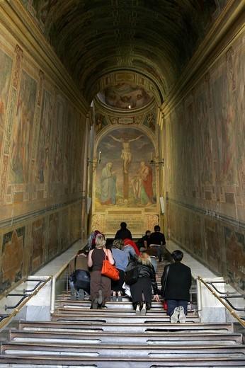 Scala Sancta, the holy stairs, Rome Italy Europe : Stock Photo