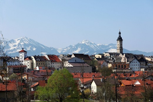 Traunstein with Alpine mountain range, Chiemgau, Upper Bavaria, Bavaria, Germany, Europe : Stock Photo