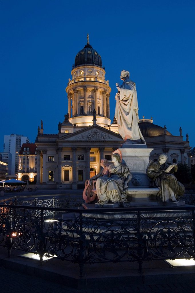 Stock Photo: 1848R-395553 Gendarme market Gendarmenmarkt at night: German cathedral, Schiller monument, Berlin, Germany, Europe