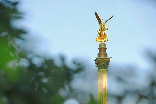 Stock Photo: 1848R-395702 Friedensengel Column of the Angel of Peace, Munich, Bavaria, Germany, Europe
