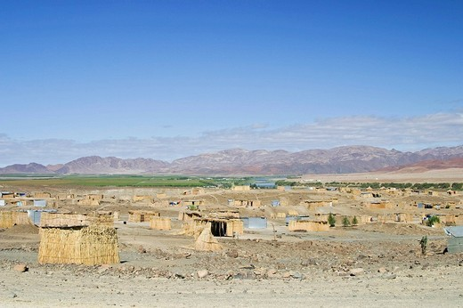 Ovambo working-class estate at the Oranje River for vintage, Aussenkehr, Namibia, Africa : Stock Photo