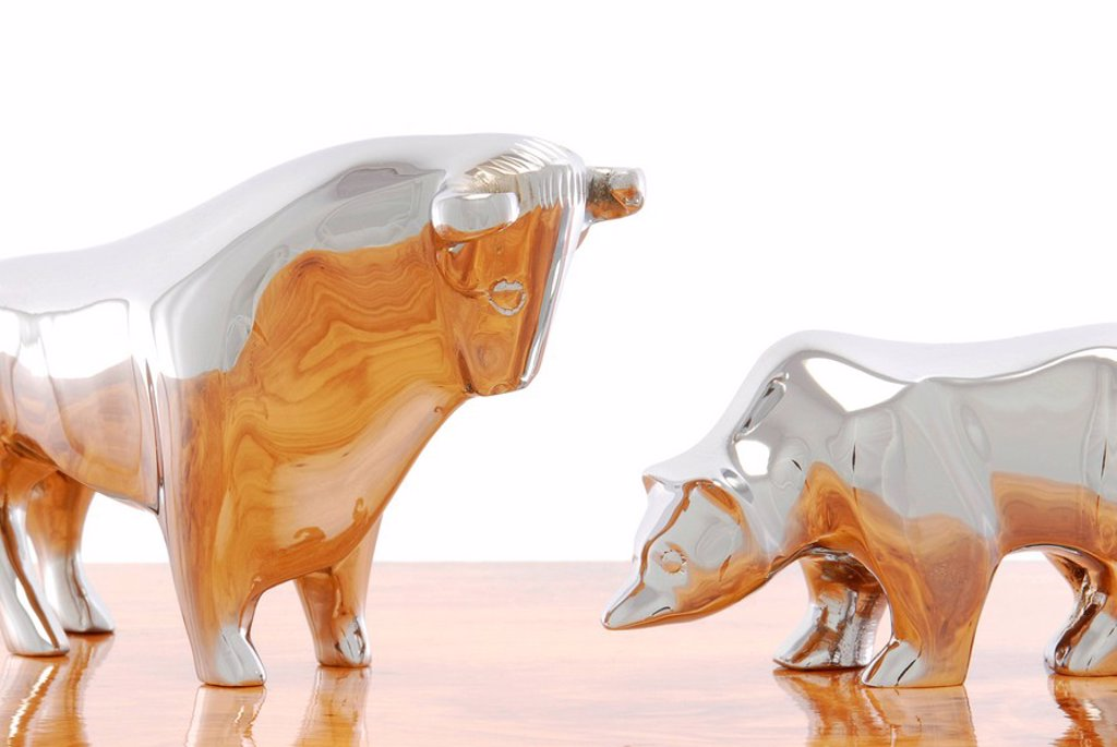 Stock Photo: 1848R-396623 Bull and bear figurines, symbolic image for the stock exchange
