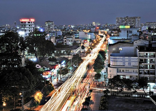 Busy road, arterial road at night, Ho Chi Minh City, Saigon, Vietnam, Asia : Stock Photo