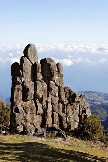 Stock Photo: 1848R-396899 Rock formation called Homem em Pe stony human on the Achada do Teixeira, Madeira, Portugal