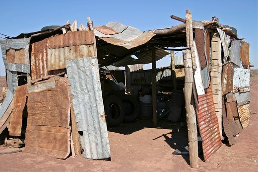 Small barrack consists of scrap metal, Namibia, Africa : Stock Photo