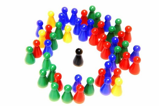 Stock Photo: 1848R-397482 Chinese checker figures are surrounding a black token