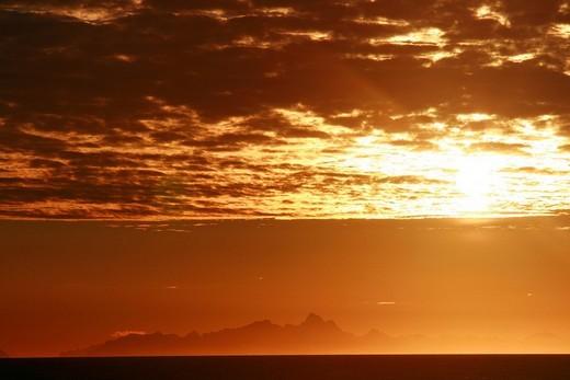 Lofoten on a midnight sun horizon, Norway, Scandinavia, Europe : Stock Photo
