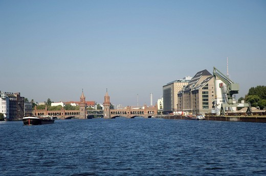 Oberbaumbrücke over the river Spree, Berlin, Germany : Stock Photo