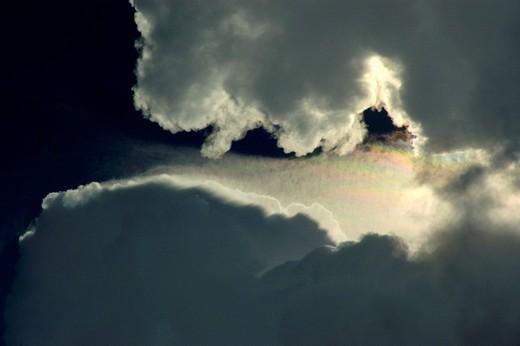Towering clouds below dark blue sky Cambodia : Stock Photo