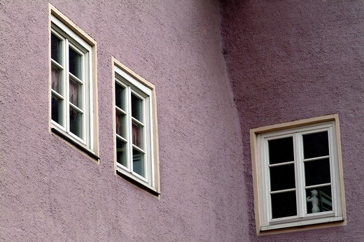 Stock Photo: 1848R-398244 Three windows of an old house