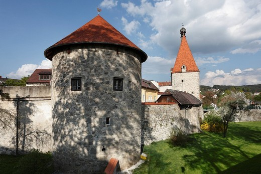 City walls in Freistadt, Upper Austria, Upper Austria, Austria, Europe : Stock Photo