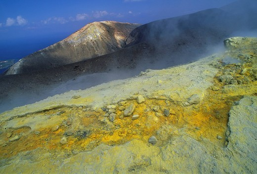 Stock Photo: 1848R-399084 Fumaroles on volcanic crater, Vulcano, Vulcano Island, Aeolian Islands, Sicily, Italy