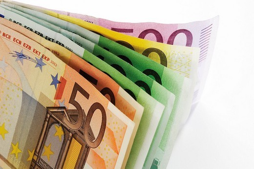 Euro notes, fanned out : Stock Photo