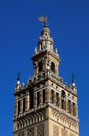 La Giralda bell tower, Cathedral of Seville, Andalusia, Spain : Stock Photo