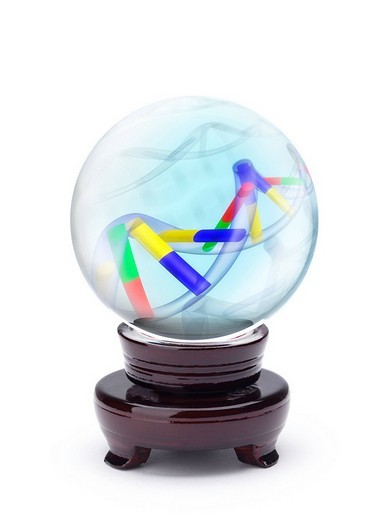 Stock Photo: 1848R-399707 Crystal ball with DNA molecules