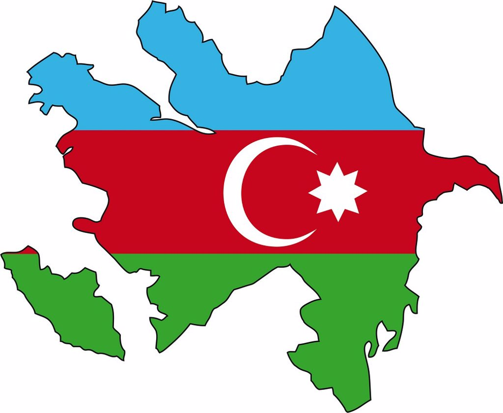 Azerbaijan, flag, outline : Stock Photo