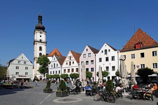 Stock Photo: 1848R-503204 Weiden in der Oberpfalz , Oberer Markt , church St Michael _ Upper Palatinate Bavaria Germany