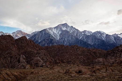 Stock Photo: 1848R-503934 Mount Whitney, Alabama Hills, Sierra Nevada, California, USA
