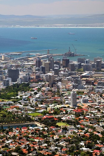 View over Cape Town from Table Mountain, South Africa, Africa : Stock Photo