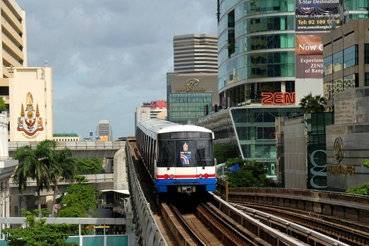 Stock Photo: 1848R-505689 BTS Skytrain, Bangkok Mass Transit System, S_Bahn between skyscrapers, Bangkok, Thailand, Southeast Asia, Asia