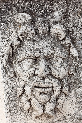 Relief of a face, Roman forum, Zadar, Dalmatia, Croatia, Europe : Stock Photo