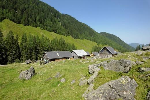 Stock Photo: 1848R-506343 Tuchmoaralm mountain meadow, Naturpark Soelktaeler nature park, Schladminger Tauern mountains, Styria, Austria, Europe