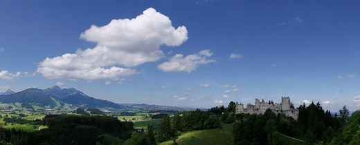 Cloudy atmosphere, Ostallgaeu, Allgaeu, Bavaria, Germany, Europe : Stock Photo