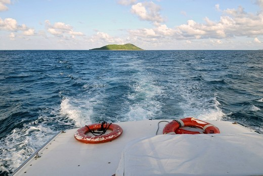 Stock Photo: 1848R-507211 Boat trip from Buck Island to St. Croix Island, US Virgin Islands, USA