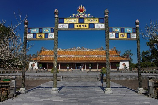 Entrance area of the Imperial Palace in Hue, Vietnam, Southeast Asia : Stock Photo