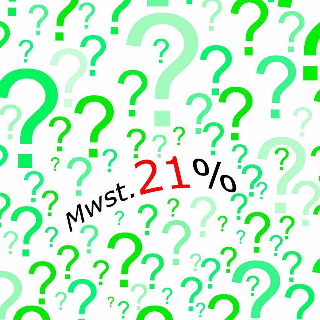 Stock Photo: 1848R-507721 Mehrwertsteuererhoehung 21, German for VAT increase