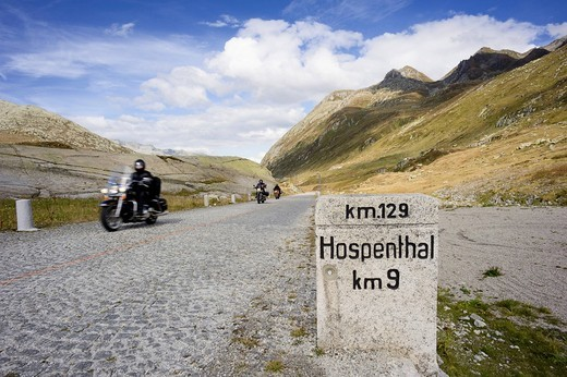 Motorcyclists on the old Gotthard road, Switzerland, Europe : Stock Photo