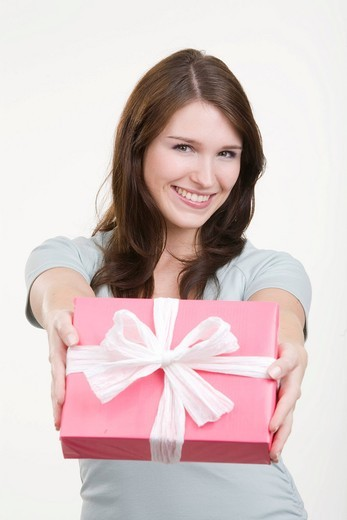 Stock Photo: 1848R-508992 Woman with gift