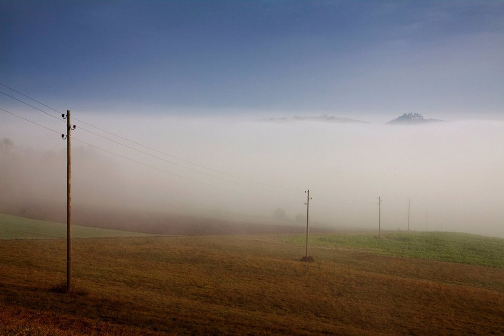 Foggy atmosphere, on the right Mt. Maegdeberg protrudes from the sea of fog, Hegau area, Landkreis Konstanz district, Baden_Wuerttemberg, Germany, Europe : Stock Photo