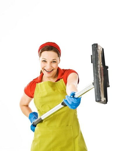 Cleaning lady at work : Stock Photo