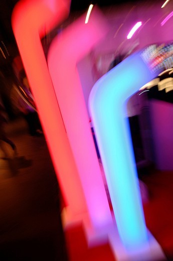 Coloured plastic tubes, light art : Stock Photo