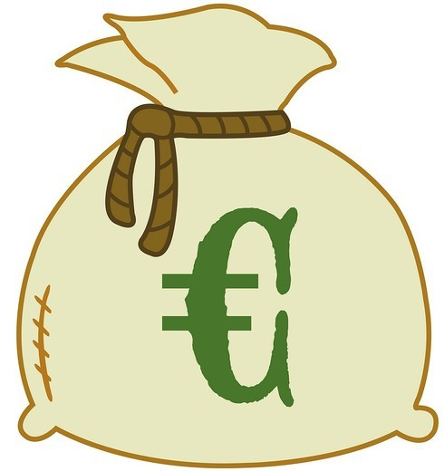Stock Photo: 1848R-511096 Money bag with euro sign, illustration