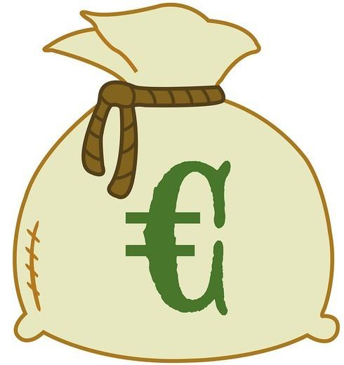 Money bag with euro sign, illustration : Stock Photo