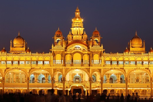 Maharaja Palace, Mysore Palace, illumination at night, Mysore, Karnataka, South India, India, South Asia, Asia : Stock Photo